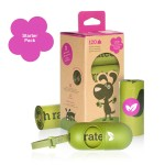 Poop Bags Starter Pack - Incl. Dispenser + Refill Box of 8 Rolls by Earth Rated