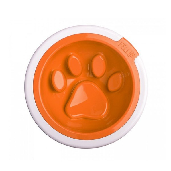 Kaleido Good Manners Anti Gulp Dog Bowl in Tangerine by FelliPet!