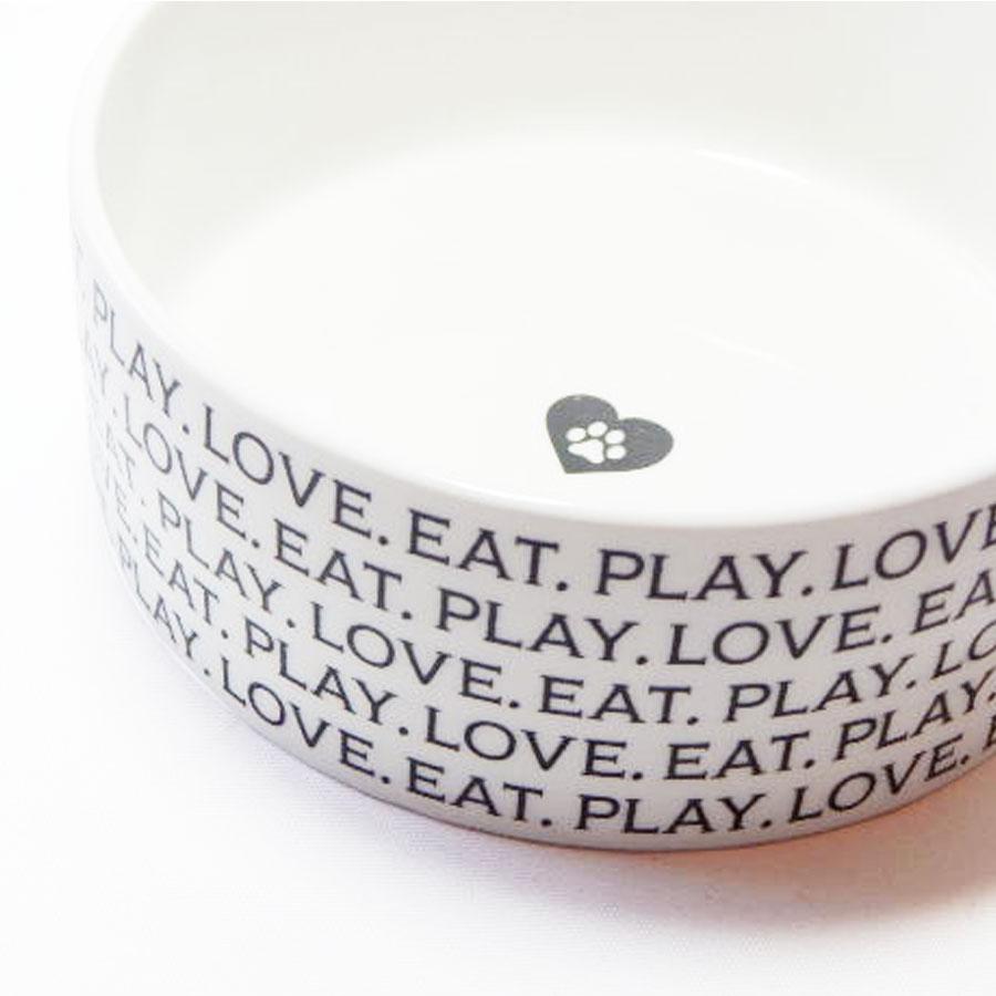 love eat play' ceramic designer dog bowl by fringe studio  - 'love eat play' ceramic designer dog bowl by fringe studio