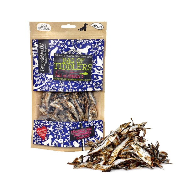 Bag of Tiddlers Fish Dog Treats 75g by Green & Wilds