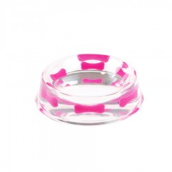 'Pink Bone' Heavy Resin Designer Dog Bowl by K9!