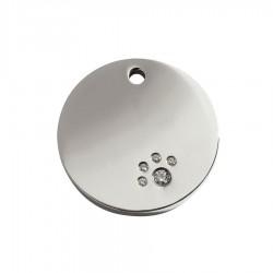 Circle ID Tag with Swarovski Diamantes by Red Dingo!