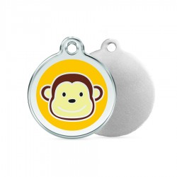 Monkey ID Tag - Stainless Steel & Enamel by Red Dingo!