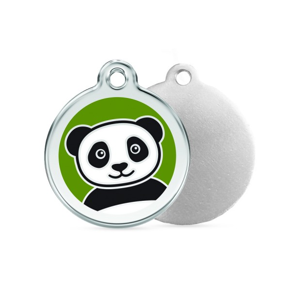 Panda ID Tag - Stainless Steel & Enamel by Red Dingo!