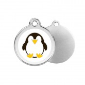 Penguin ID Tag - Stainless Steel & Enamel by Red Dingo!