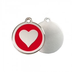 Heart ID Tag - Stainless Steel & Enamel by Red Dingo