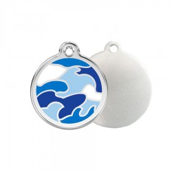 Blue Camouflage ID Tag - Stainless Steel & Enamel by Red Dingo