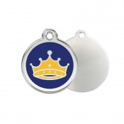 Blue Crown ID Tag - Stainless Steel & Enamel by Red Dingo