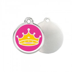Pink Crown ID Tag - Stainless Steel & Enamel by Red Dingo