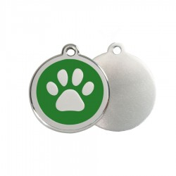 Paw Print ID Tag - Stainless Steel & Enamel by Red Dingo