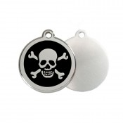Skull & Crossbones ID Tag - Stainless Steel & Enamel by Red Dingo