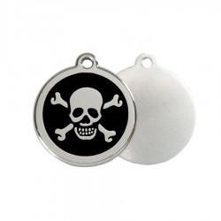Skull & Crossbones ID Tag - Stainless Steel & Enamel by Red Dingo
