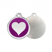 Glitter Heart ID Tag - Stainless Steel & Glitter by Red Dingo