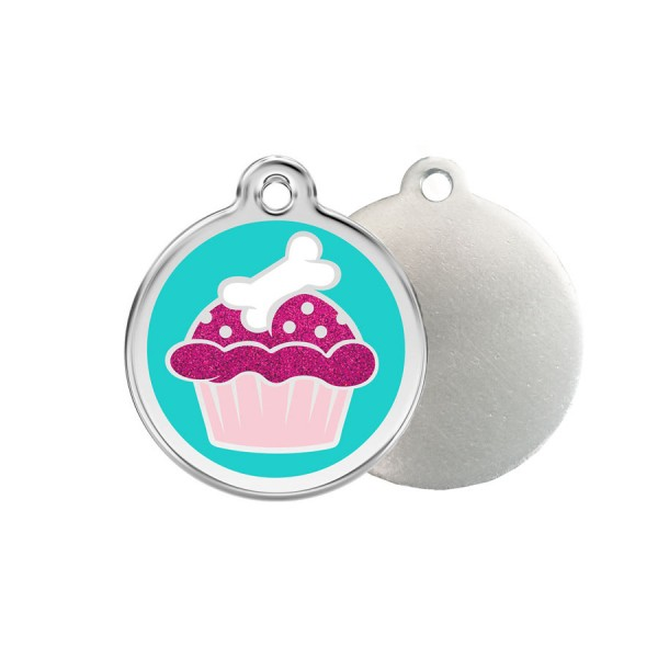 Glitter Pup Cake ID Tag - Stainless Steel, Glitter & Enamel by Red Dingo