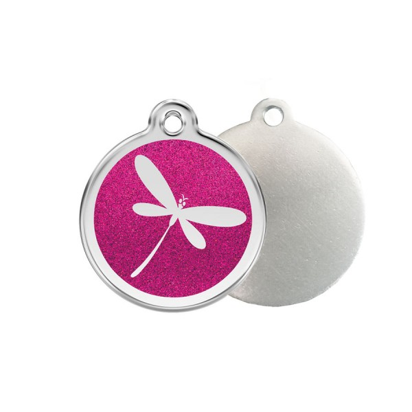 Glitter Dragonfly ID Tag - Stainless Steel, Glitter & Enamel by Red Dingo