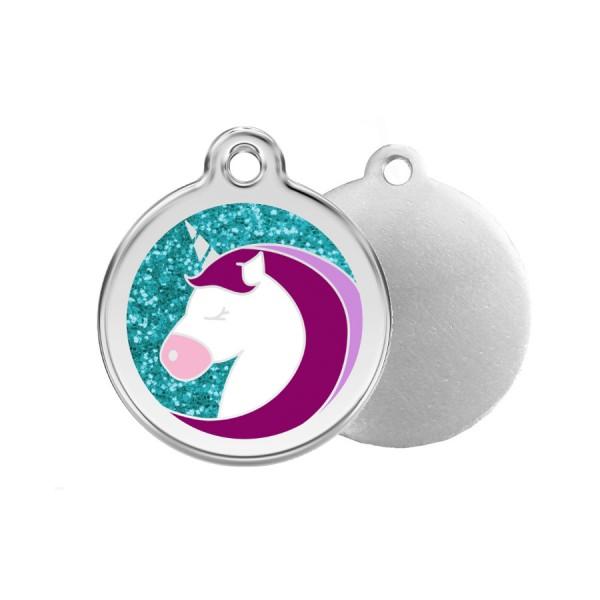 Glitter Unicorn ID Tag - Stainless Steel, Glitter & Enamel by Red Dingo