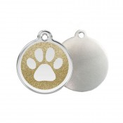 Glitter Paw Print ID Tag - Stainless Steel & Glitter by Red Dingo