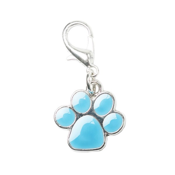 Turquoise Enamel & Silver Dog Paw Collar Charm by Urban Pup!