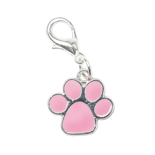Pink Enamel & Silver Dog Paw Collar Charm by Urban Pup!