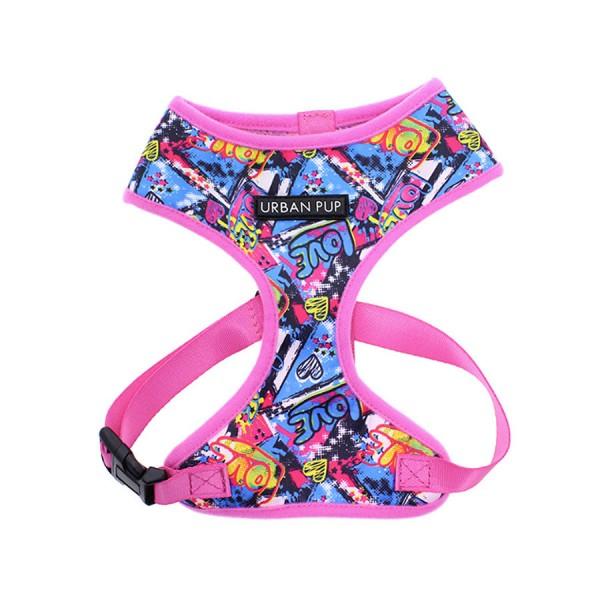 Graffiti Pink Pattern Fabric Dog Harness